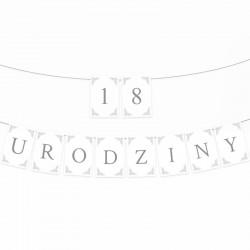 BANER na 18 urodziny Biało-Srebrny