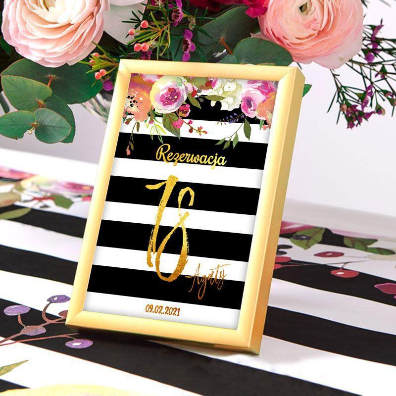 Dekoracje stołu na 18 tabliczka