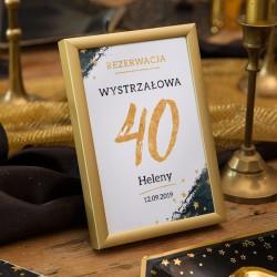 TABLICZKA Rezerwacja na stolik na 40 (+złota metalowa ramka)