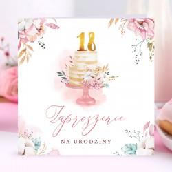 ZAPROSZENIA na 18 Pastelowy Tort 10szt (+koperty)