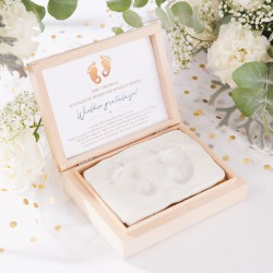 PREZENT na narodziny gratulacje na odcisk stópek/dłoni NADRUK + glina