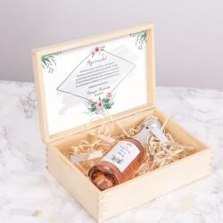SZAMPAN na panieński w skrzyni prezent dla Panny Młodej SREBRNY +IMIĘ