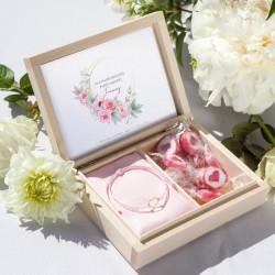 PREZENT dla Panny Młodej Zapach Piwonii BRANSOLETKA POZŁACANE SREBRO z sercem RÓŻOWA