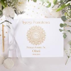KSIĘGA Pamiątkowa I Komunii IHS Exclusive Z IMIENIEM (+sznurek ozdobny złoty)