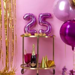 BALON foliowy na urodziny 35cm FUKSJA Wybierz cyfrę