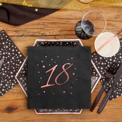 SERWETKI na 18 urodziny Rosegold Black 33x33cm 20szt