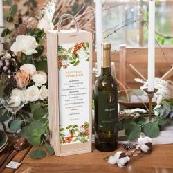 PREZENT na ślub dla Pary Młodej WINO w drewnianej skrzyni Jarzębina