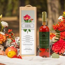 PREZENT na ślub dla Pary Młodej WINO w drewnianej skrzyni Dzika Róża
