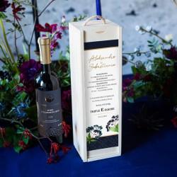 PREZENT na ślub dla Pary Młodej WINO w drewnianej skrzyni Czarny Bez
