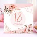 ZAPROSZENIA na 18 urodziny Rosegold Flowers 10szt (+koperty)