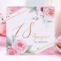 ZAPROSZENIA na 18 urodziny Piwonie 10szt (+koperty)
