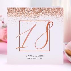 ZAPROSZENIA na 18 glamour Rosegold Confetti 10szt (+koperty)