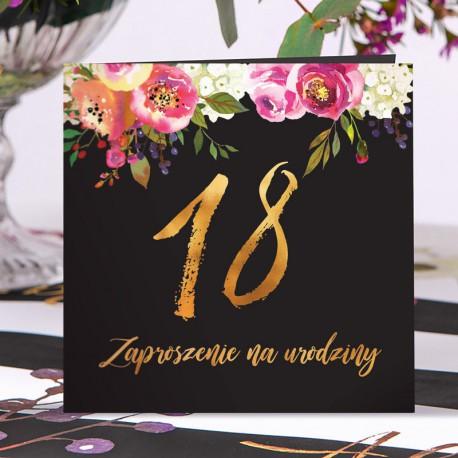 ZAPROSZENIA na 18 Boho eleganckie z kwiatami 10szt (+koperty)