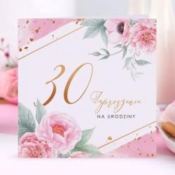 ZAPROSZENIA na 30 urodziny Piwonie 10szt (+koperty)