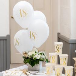 BALONY na 18, 30, 40 urodziny białe+złote 23cm 8szt