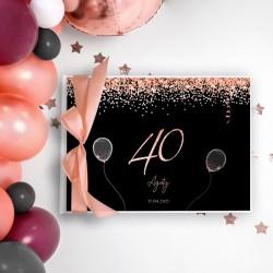 KSIĘGA PAMIĄTKOWA na 40 urodziny Z IMIENIEM Rosegold Black (+wstążka brzoskwinia)