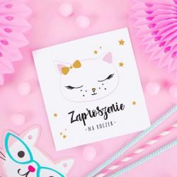 ZAPROSZENIA na Roczek Słodki Kotek 10szt (+koperty)