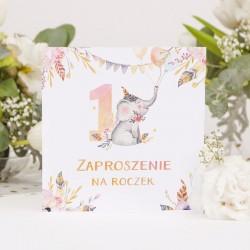 ZAPROSZENIA na Roczek Uroczy Słonik 10szt (+koperty)