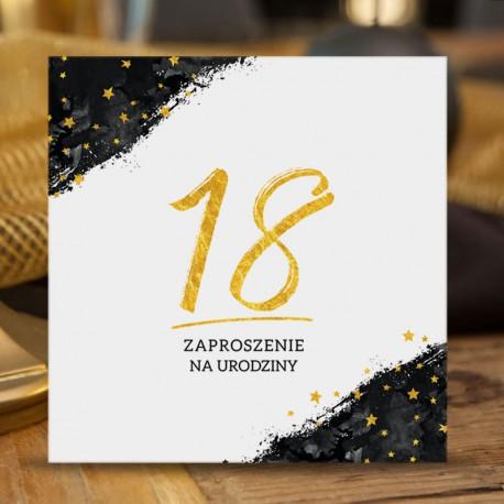 ZAPROSZENIA na 18 Czarno-Złote 10szt (+koperty)
