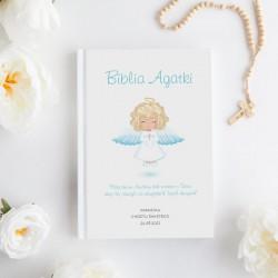 BIBLIA Pamiątka Chrztu Świętego Z IMIENIEM Aniołek Niebieski DUŻA