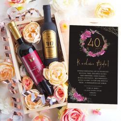 PREZENT na 40 urodziny Wino+zestaw w skrzyni Luxury Boho