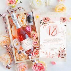 PREZENT na 18 Szampan w kwiatach Luxury 750ml RÓŻOWY