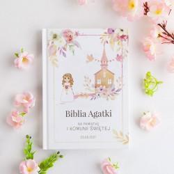 BIBLIA Pamiątka I Komunii Z IMIENIEM Pastelowa z Dziewczynką DUŻA