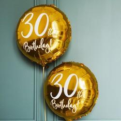 BALON na 30 urodziny foliowy okrągły 45cm ZŁOTY