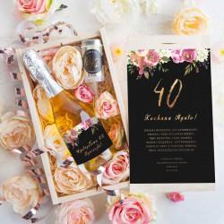 PREZENT na 40 urodziny Szampan w kwiatach Luxury Boho Eleganckie 750ml ZŁOTY