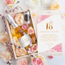 PREZENT na 18 Szampan w kwiatach Luxury Z koroną Pink 750ml ZŁOTY