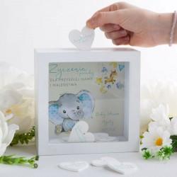 SKARBONKA z życzeniami dla Przyszłej Mamy Zabawa Baby Shower Z IMIENIEM (+20 serduszek)