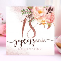 ZAPROSZENIA na 18 urodziny Glittery Flowers 10szt (+koperty)