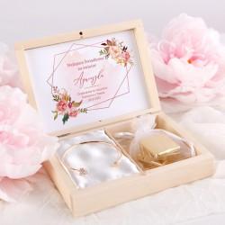 PODZIĘKOWANIE dla Świadkowej w pudełku z bransoletką Rosegold Flowers