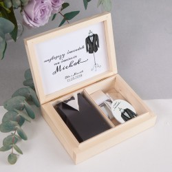 PODZIĘKOWANIE dla Świadka w drewnianym pudełku Bride&Groom
