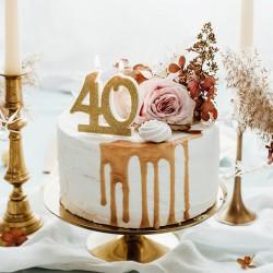 ŚWIECZKI na tort na 40 urodziny brokatowe