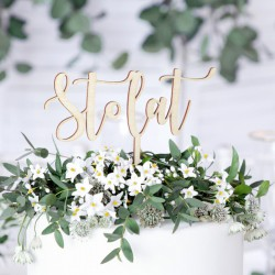 TOPPER na tort urodzinowy Stol Lat DREWNIANY