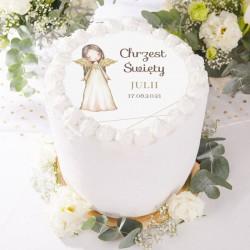 OPŁATEK na tort Chrzest Anioł Stróż Z IMIENIEM Ø20cm