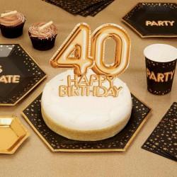 TOPPER na tort na 40 urodziny GLAMOUR Złoty