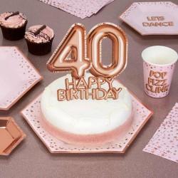 TOPPER na tort na 40 urodziny GLAMOUR Rosegold