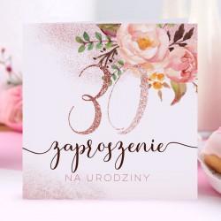 ZAPROSZENIA na 30 urodziny Glittery Flowers 10szt (+koperty)