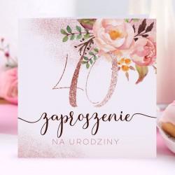 ZAPROSZENIA na 40 urodziny Glittery Flowers 10szt (+koperty)