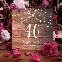 ZAPROSZENIA na 40 urodziny Rustic rustykalne 10szt (+koperty)