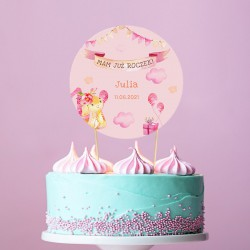 TOPPER na tort Roczek dziewczynki Różowy Króliczek Z IMIENIEM