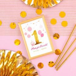 DEKORACJA stołu na Roczek Tabliczka Różowo-Złota Jedynka (+złota metalowa ramka)