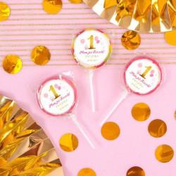 LIZAKI dla gości Roczek Różowo-Złota Jedynka (+etykiety) 10szt