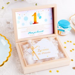 ŻYCZENIA dla Maluszka na Roczek w pudełku Niebiesko-Złota Jedynka