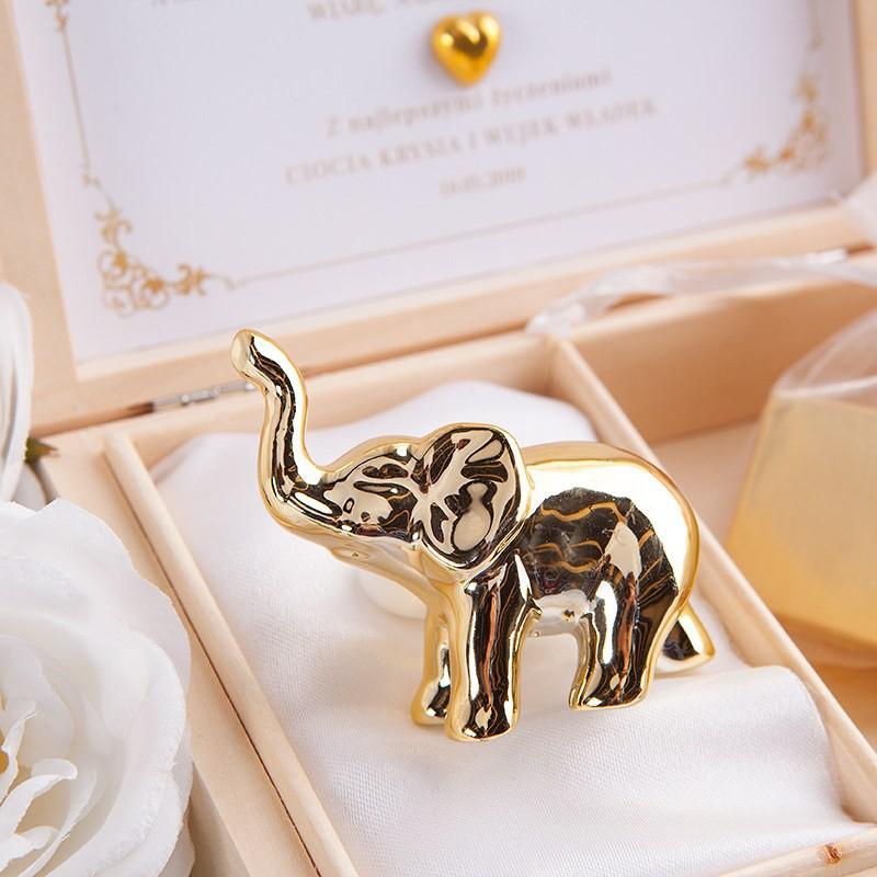 słonik na szczęście złoty
