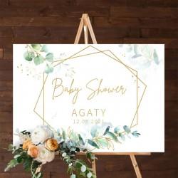 PLAKAT na Baby Shower Botaniczne 50x70cm Z IMIENIEM