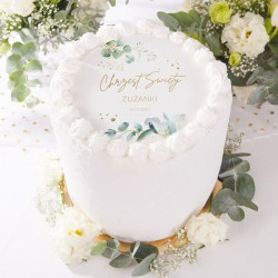 OPŁATEK na tort Chrzest Gałązka Eukaliptusa Z IMIENIEM Ø20cm