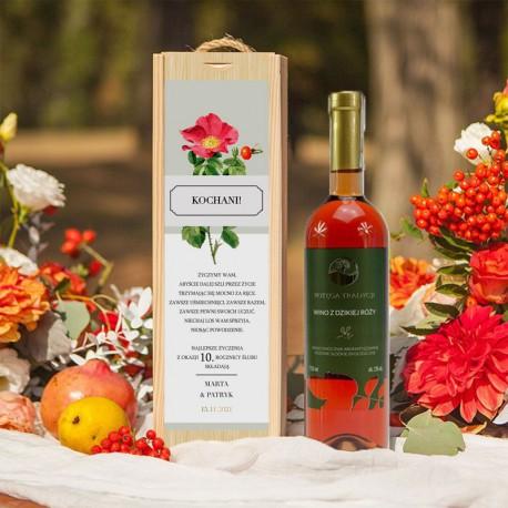 PREZENT na Rocznicę Ślubu WINO w drewnianej skrzyni Dzika Róża